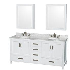 Wyndham Collection Sheffield 72 In White Double Sink Bathroom