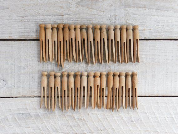 Vintage Set Of 30 Wooden Clothespins Round Wood Clothes Pin Peg