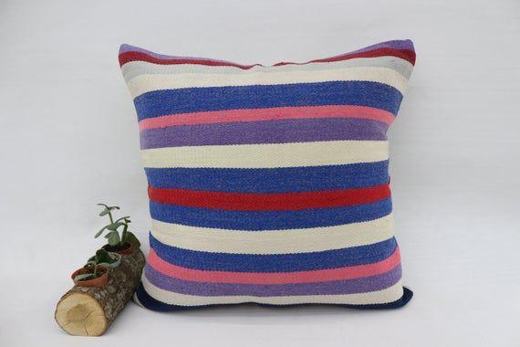 20x20 Rustic Pillow, Handmade Kilim Pillow,Square Pillow, Pillow Cover,Throw Pillow, Striped Pillow,