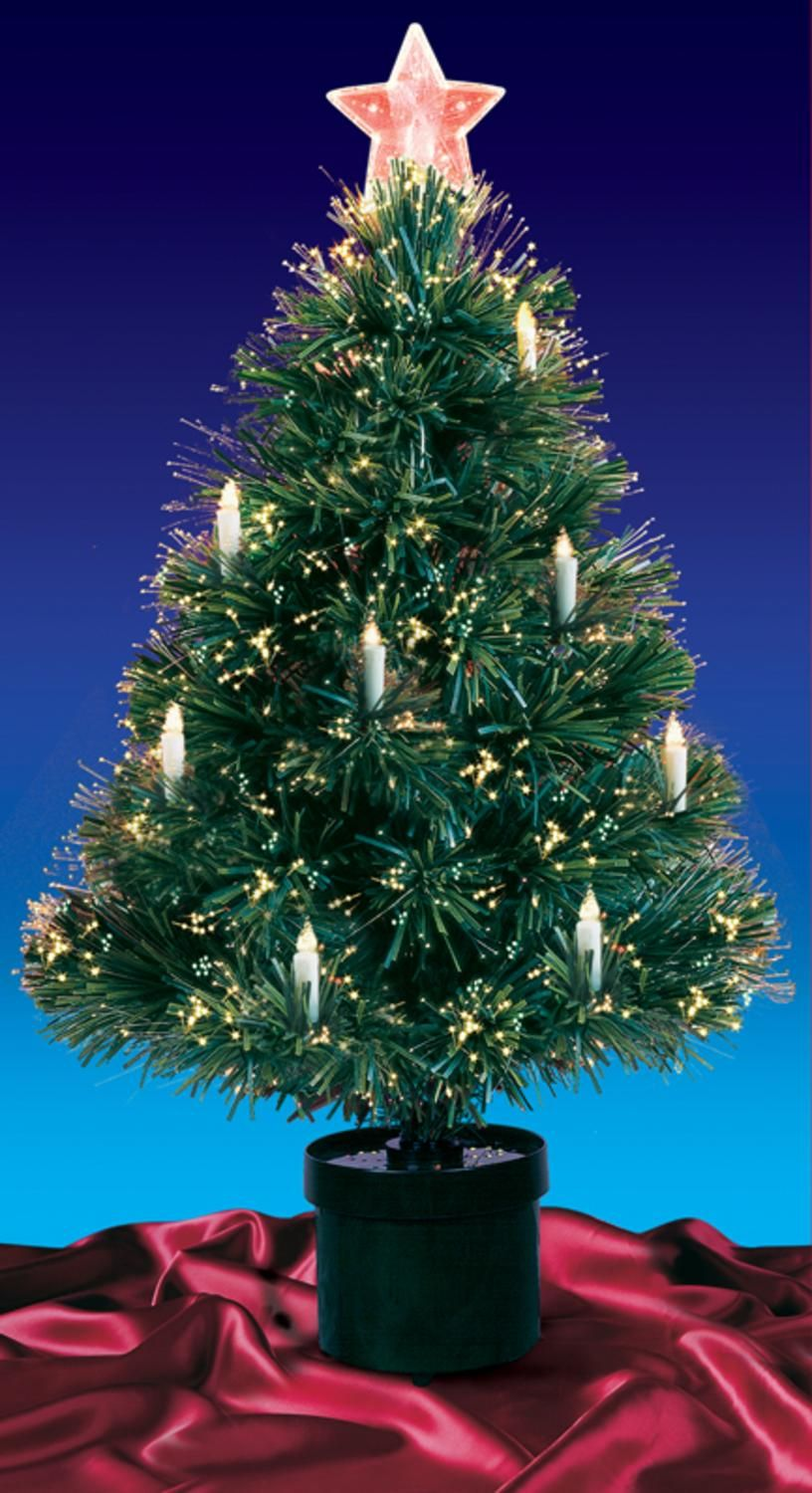 3\' Pre-Lit Fiber Optic Artificial Christmas Tree With Candles Multi ...