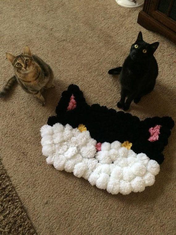 adorable cat pom pom rug large