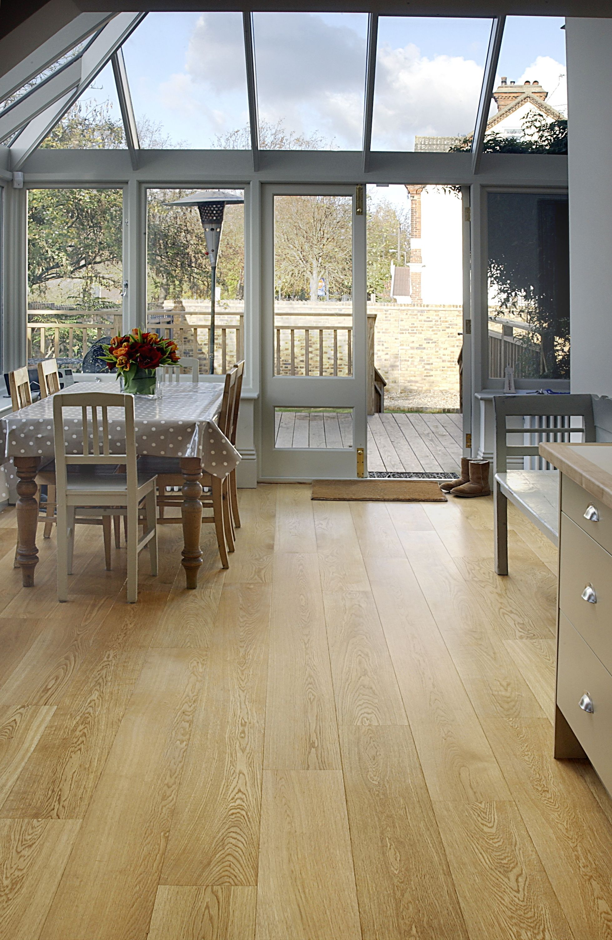 Our oak wood flooring looks the part in this lovely glass