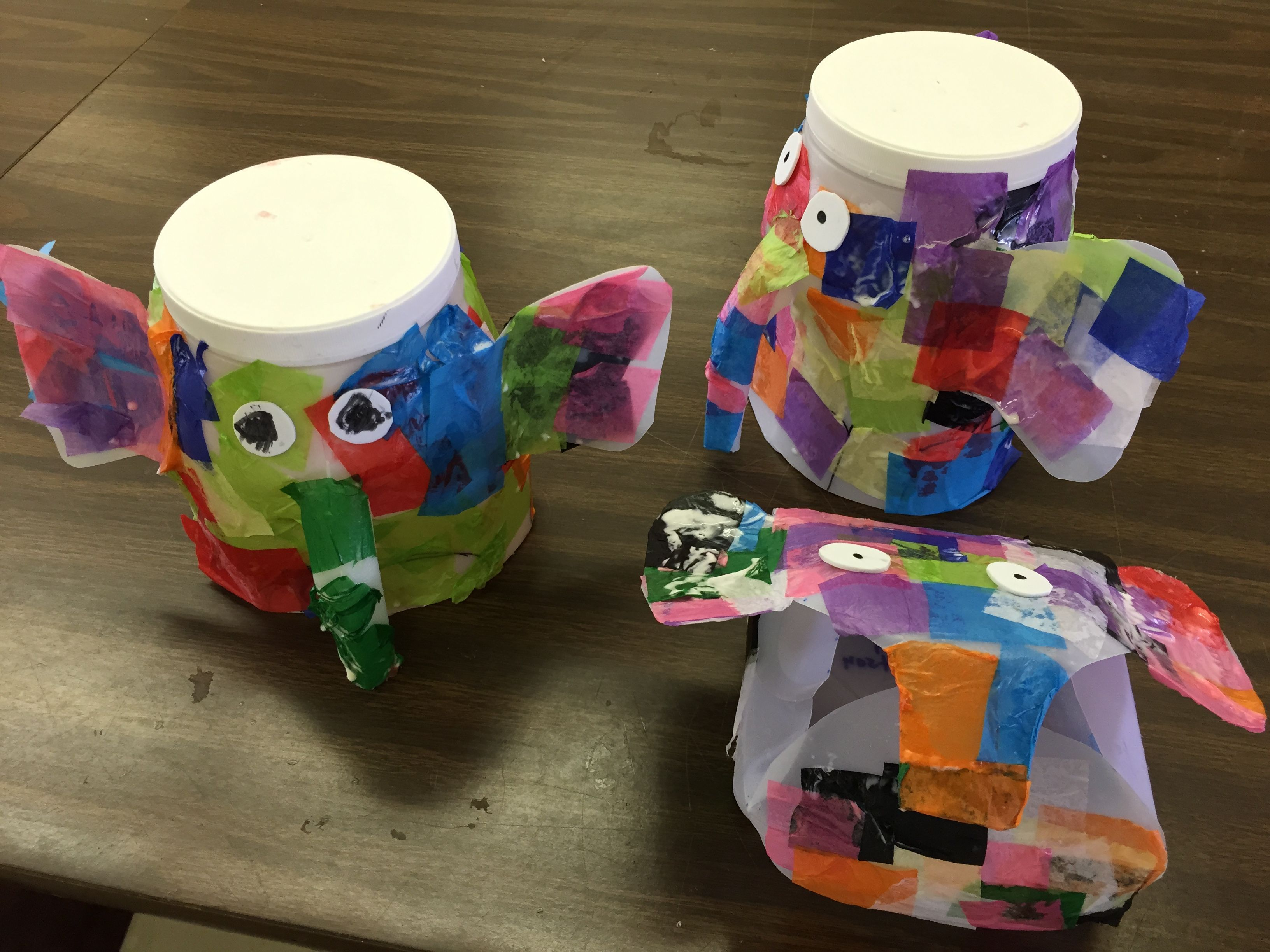Recycled plastic jugs to make our Elmer the elephant project