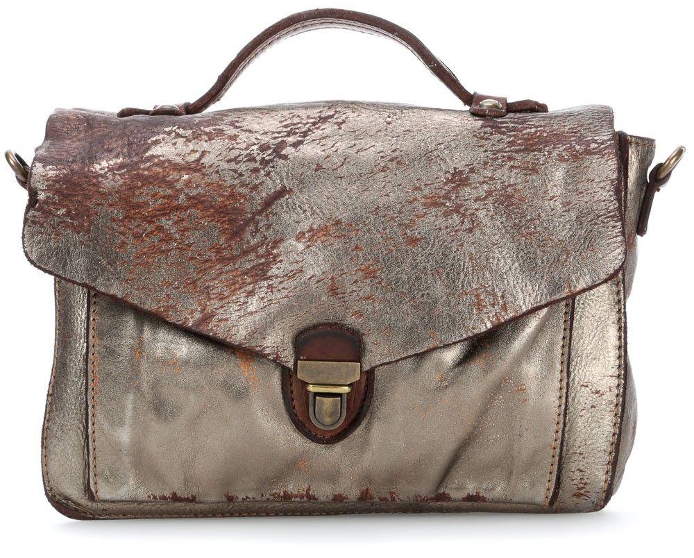 Wardow Campomaggi Linea School Bag Schultertasche Leder Silber 28 Cm