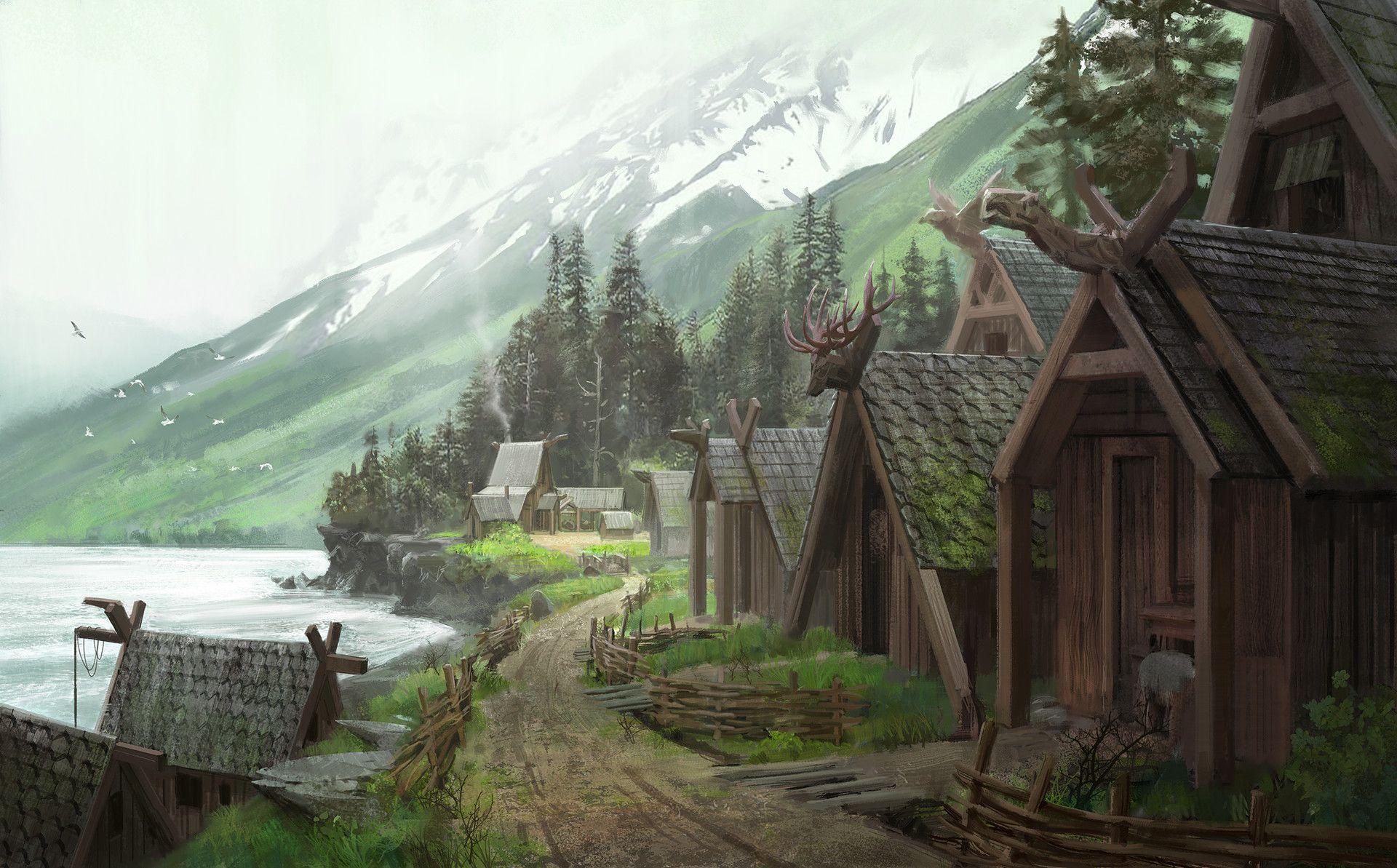 Artstation Viking Village Tyson Roberts Viking Village Fantasy Village Fantasy Concept Art