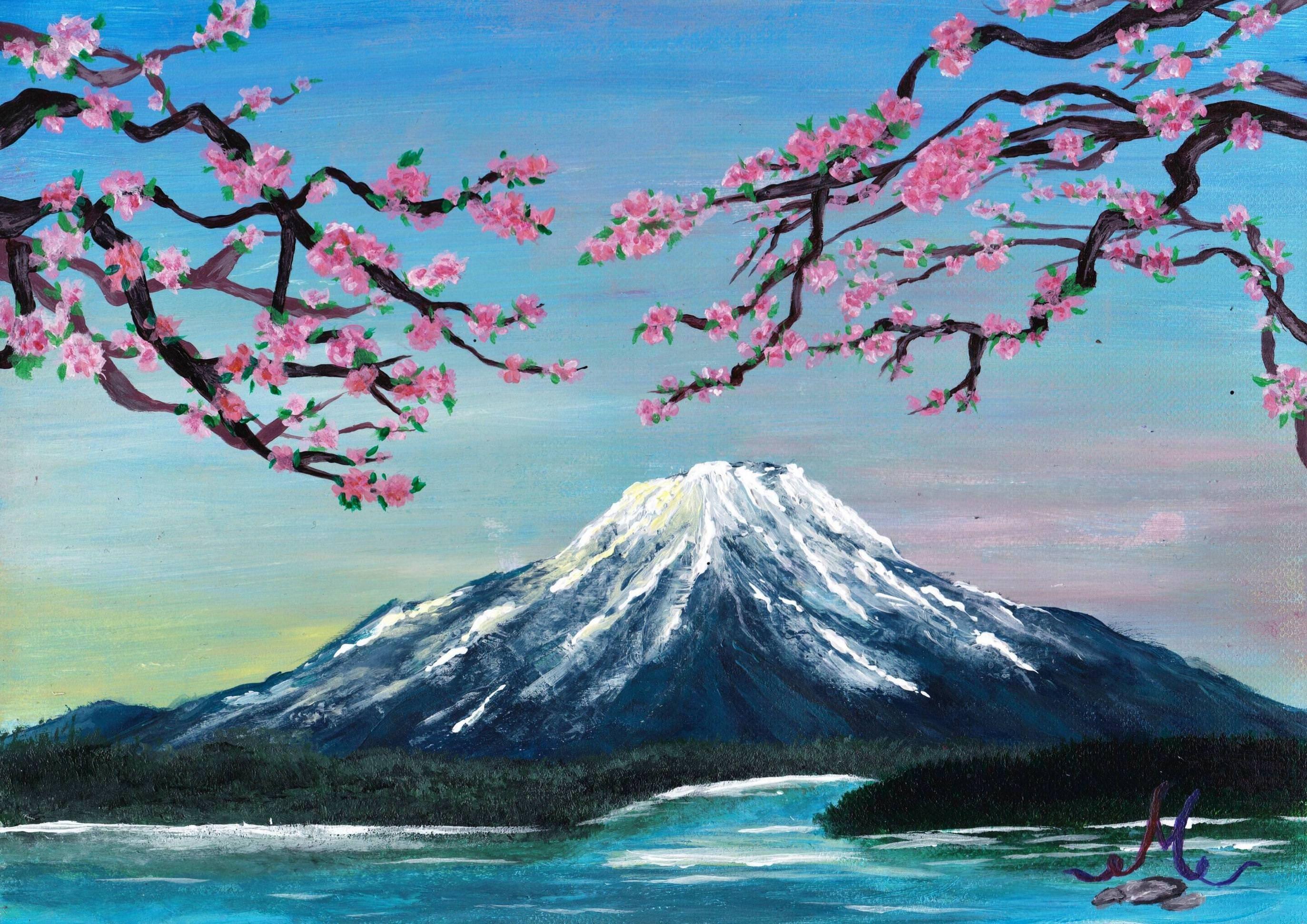 Mount Fuji, Acrylics, 8,3 x 11,7 inch