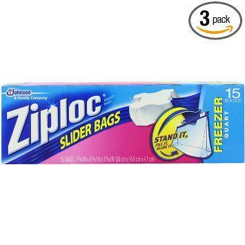 Ziploc Slider Bag Freezer, Quart, 15-Count
