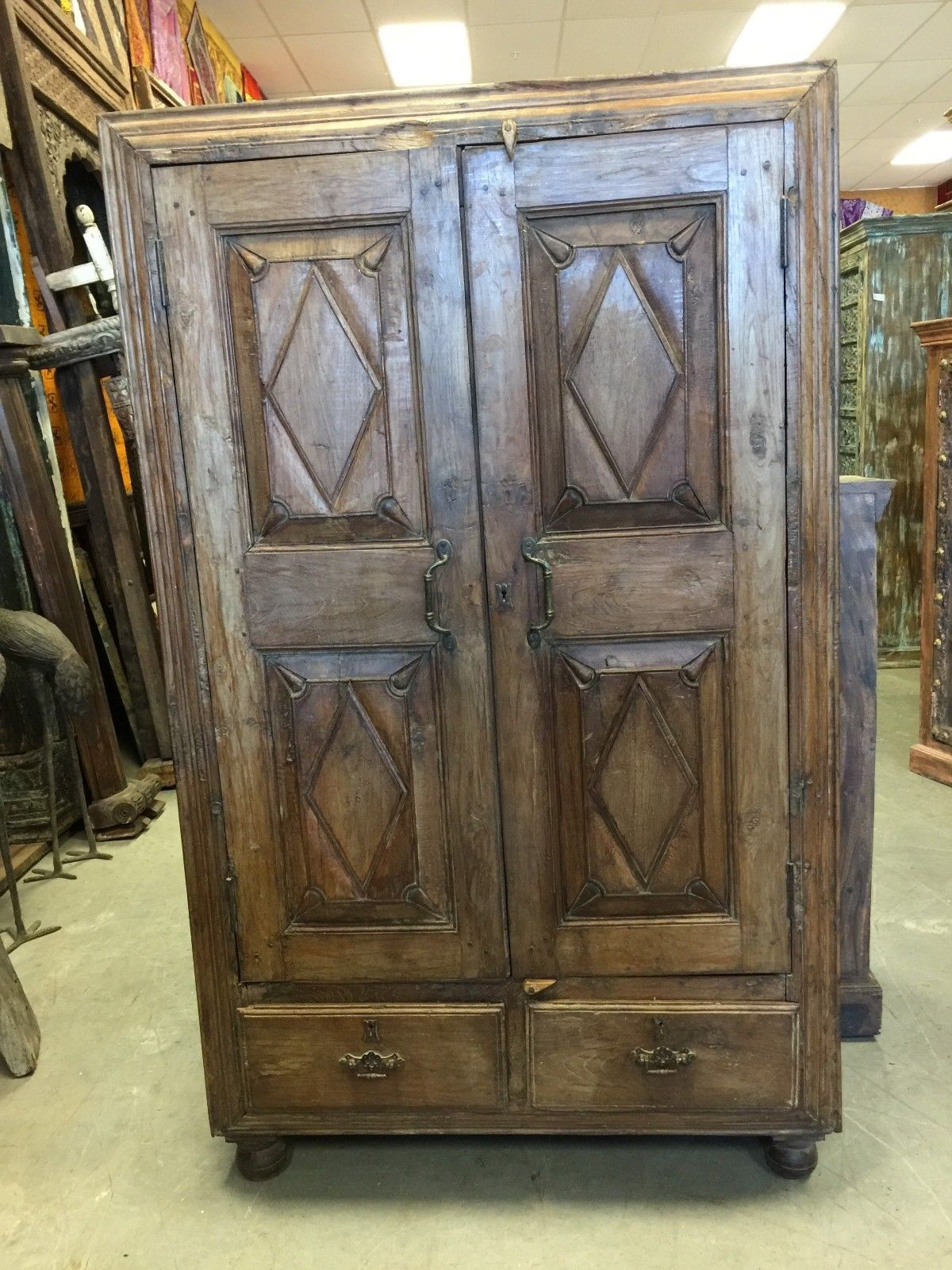 Antique Cabinet Chest Eclectic Furniture Armoire With Drawers, Spanish  Decor | EBay Http:/