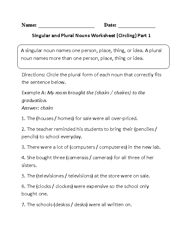 Circling Singular and Plural Nouns Worksheet Part 1 – Singular Plural Nouns Worksheet