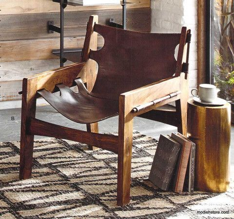 Roost Paolo Leather Sling Chair   Accent Chairs   Shop Nectar