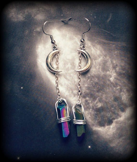 Silver Moon and Rainbow Quartz Dangle Earrings