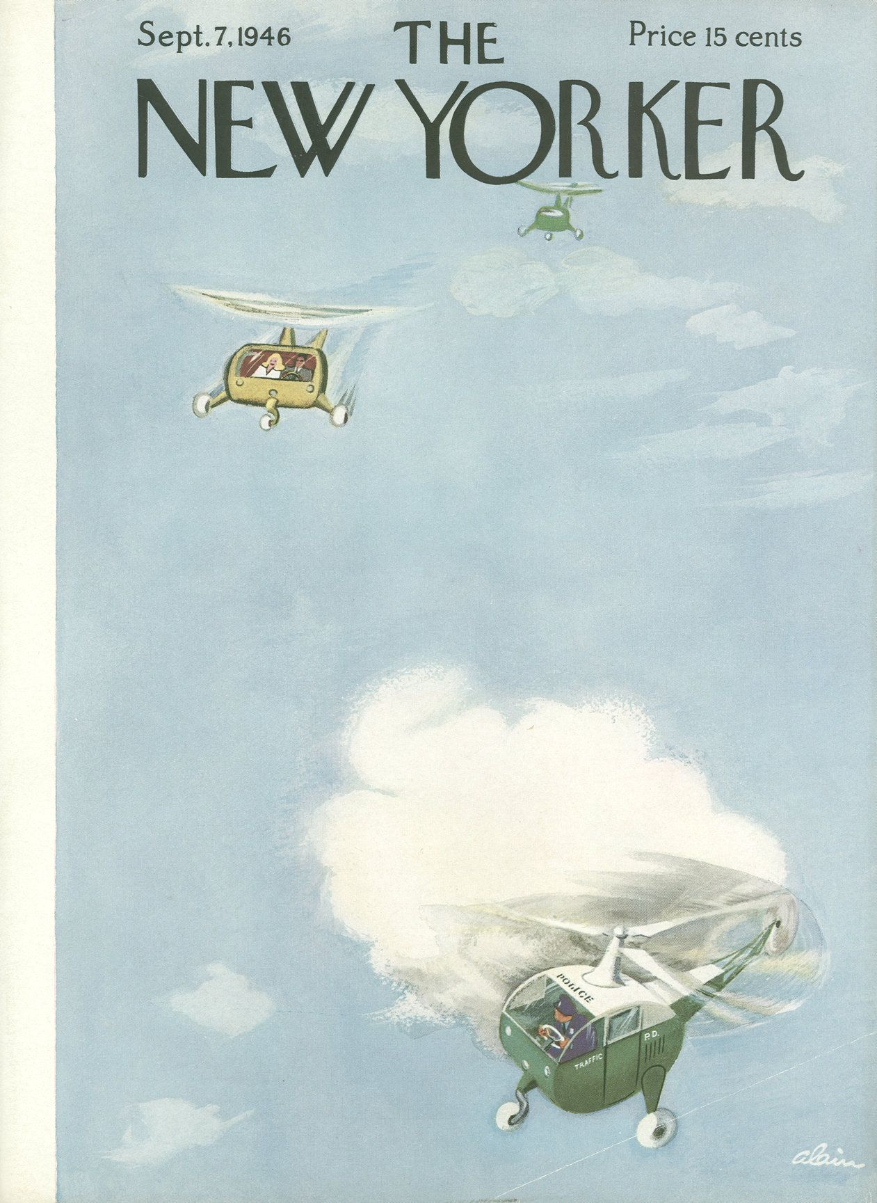 """The New Yorker - Saturday, September 7, 1946 - Issue # 1125 - Vol. 22 - N° 30 - Cover by : """"Alain"""" - Daniel Brustlein"""