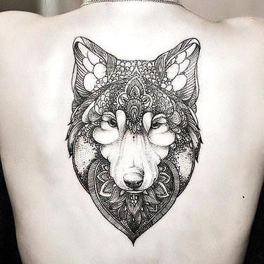 Best Girly Wolf Face on Back Tattoo Idea