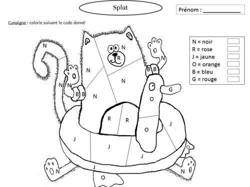 Coloriage Code Chat.Splat Adore Jardiner Splat Le Chat Coloriage Magique Et