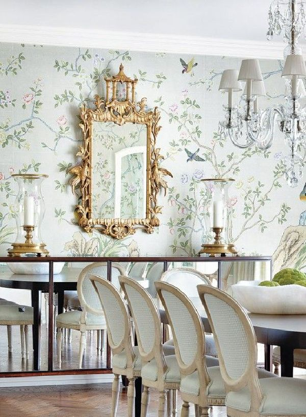 Asian Inspired Dining Room we're loving this delicate floral, and asian-inspired dining area
