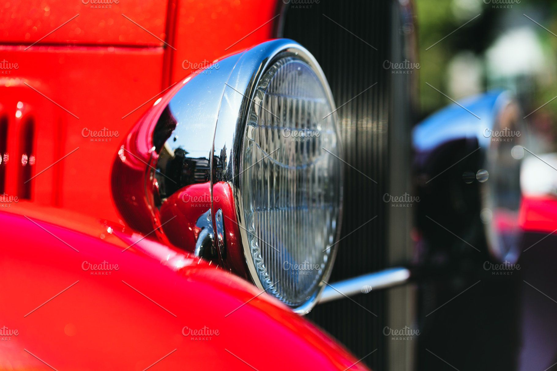 Headlight Of A Vintage Red Car Red Car Car Headlights Car Retro vintage red car headlight hd