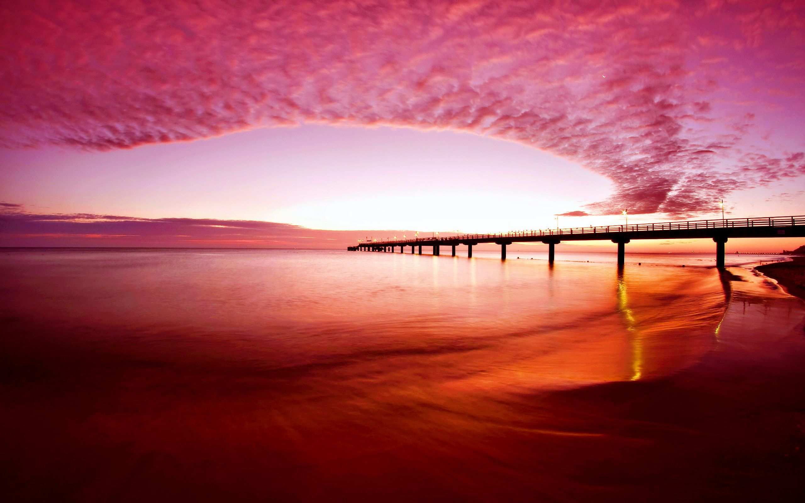 Red Sunset Beach Sunset Wallpaper Beautiful Views Beach Wallpaper Hd wallpaper sunset sky red bridge