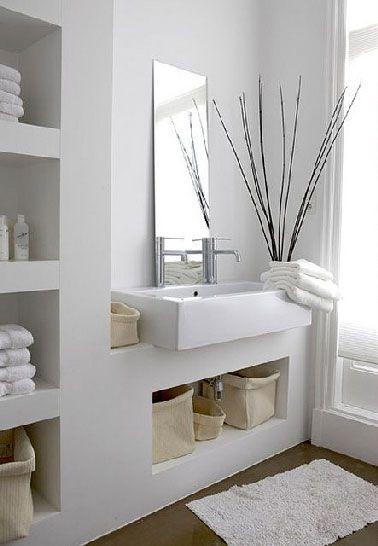 Plan vasque intégré dans meuble rangement salle de bain Inside
