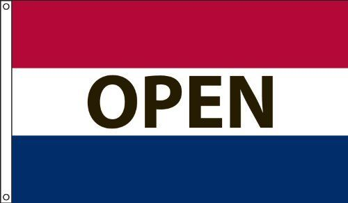3x5 Open Flag Advertising Now Open Red Flag 3/'x5/' Banner Grommets Fade Proof