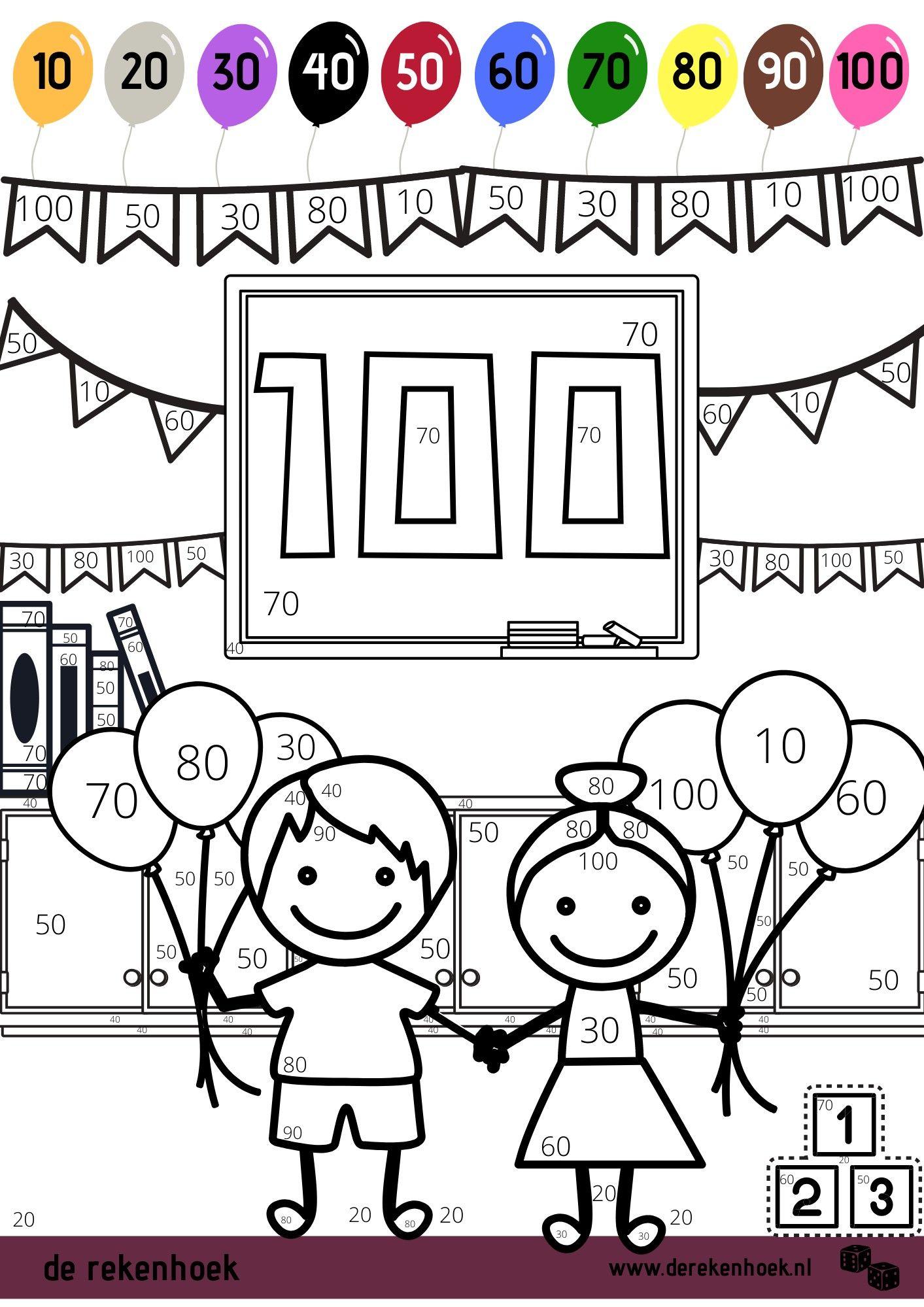 Kleurplaat 100 Dagen Feest The 100 Getallenlijnen Hoofdrekenen
