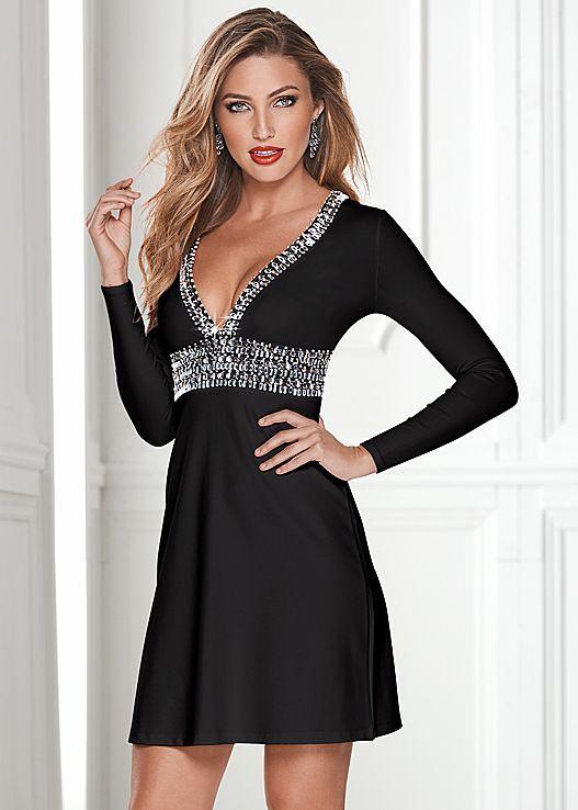 7b78fbd15ef6 Deep v trim cocktail dress
