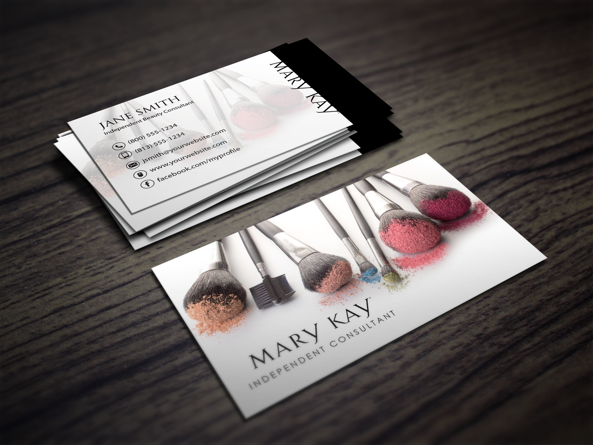 Makeup business card design for a Mary Kay rep expanding
