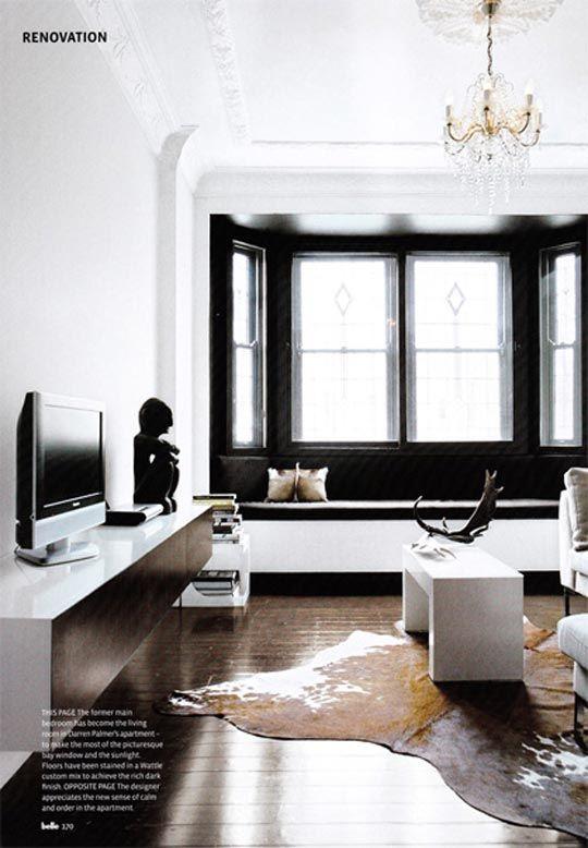 Look White Room Black Alcove Black Window Trims Home Black Windows