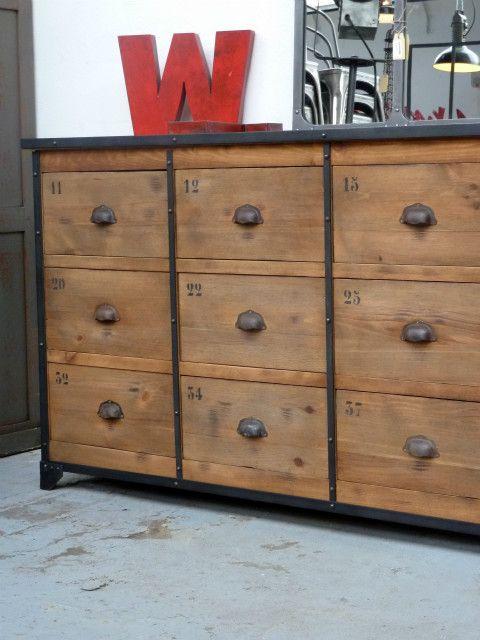 Meuble d\u0027atelier 12 tiroirs riveté 1,86x41x91H 1800,- \u20ac rusty