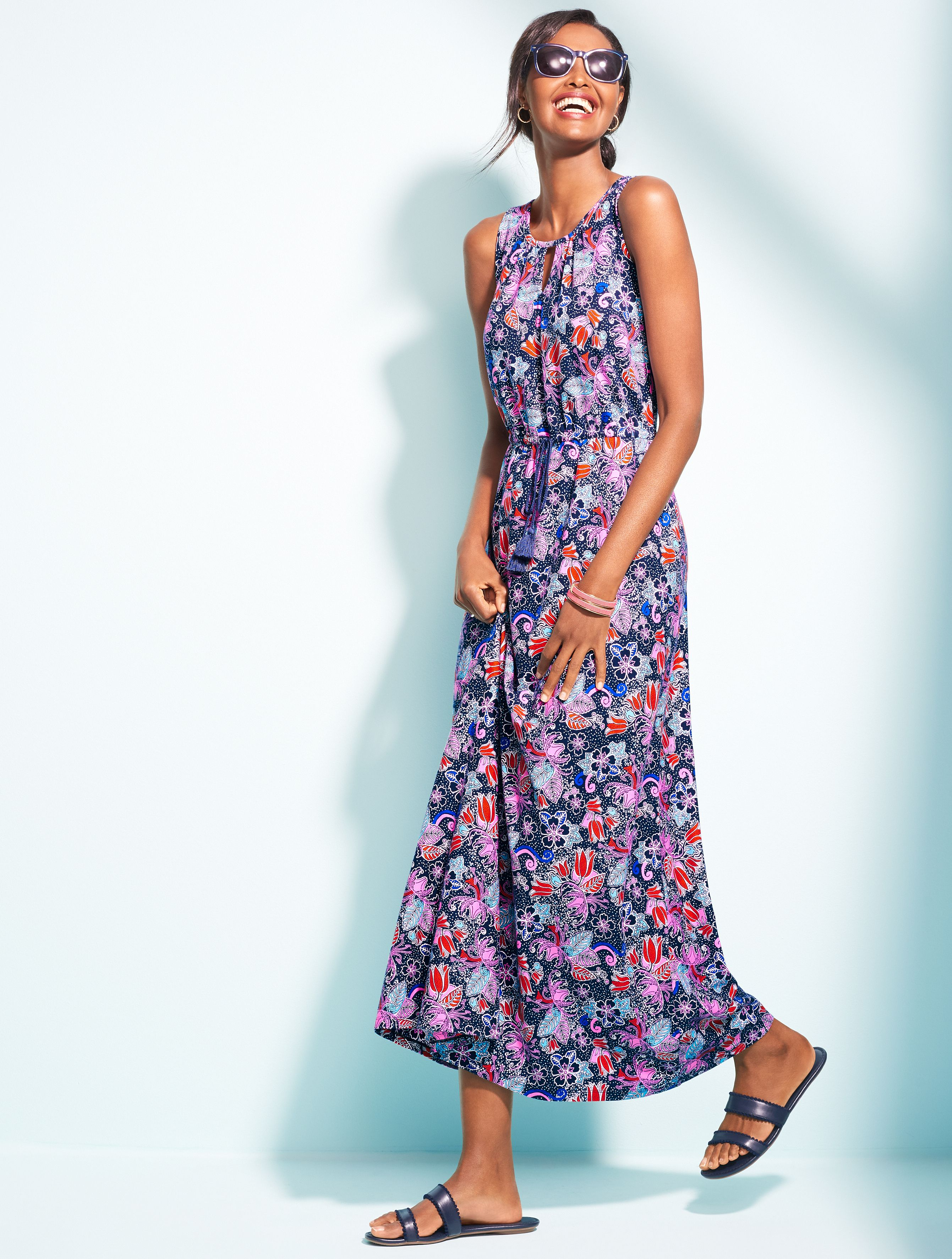 Our New Maxi Dress Embraces The Spirit Of Casual With Its Floral And Festive Print Made From A Fluid Jersey This Must Ha Dresses Floral Maxi Dress Maxi Dress [ 3548 x 2682 Pixel ]