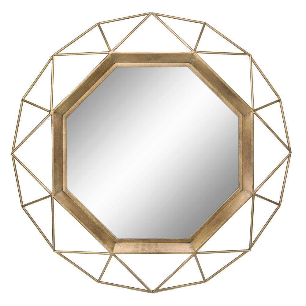 Stonebriar Collection Geometric Antique Gold Decorative Wall Mirror Sb 6137a The Home Depot Gold Framed Mirror Gold Mirror Wall Hanging Wall Mirror