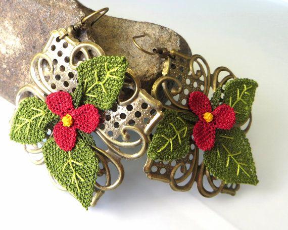 silk needle earrings