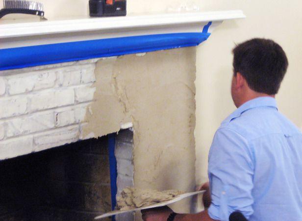 Resurface A Fireplace With Stucco Stucco Fireplace Brick Fireplace Makeover Fireplace Remodel