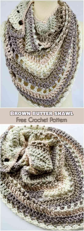 Brown Butter Shawl [Free Crochet Pattern]