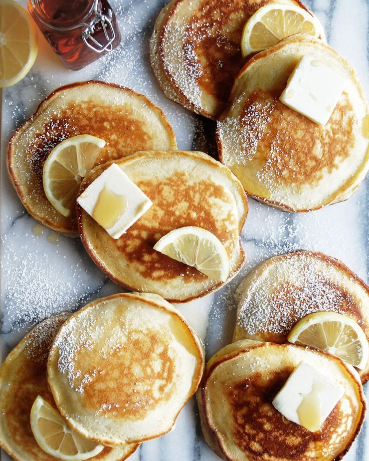 Lemon Ricotta Pancakes with Blueberry Syrup - The Original Dish