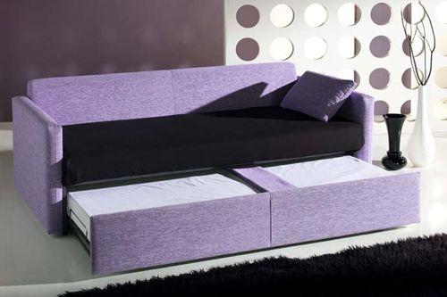 Sof cama con sistema de caj n escondido o nido sof for Sofa cama con cajones ikea