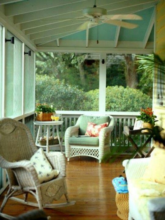 Painted Blue And White Porch Ceiling Screened Porch Decorating