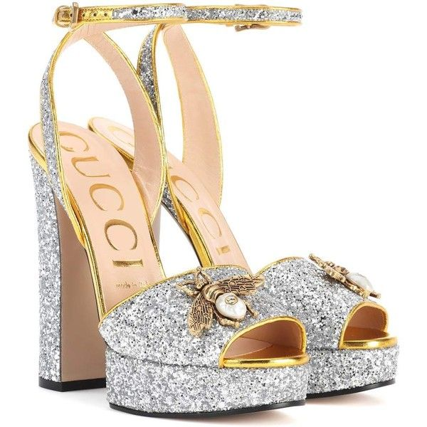 e896dbf05ba Gucci Embellished Plateau Glitter Pumps ( 855) ❤ liked on Polyvore  featuring shoes