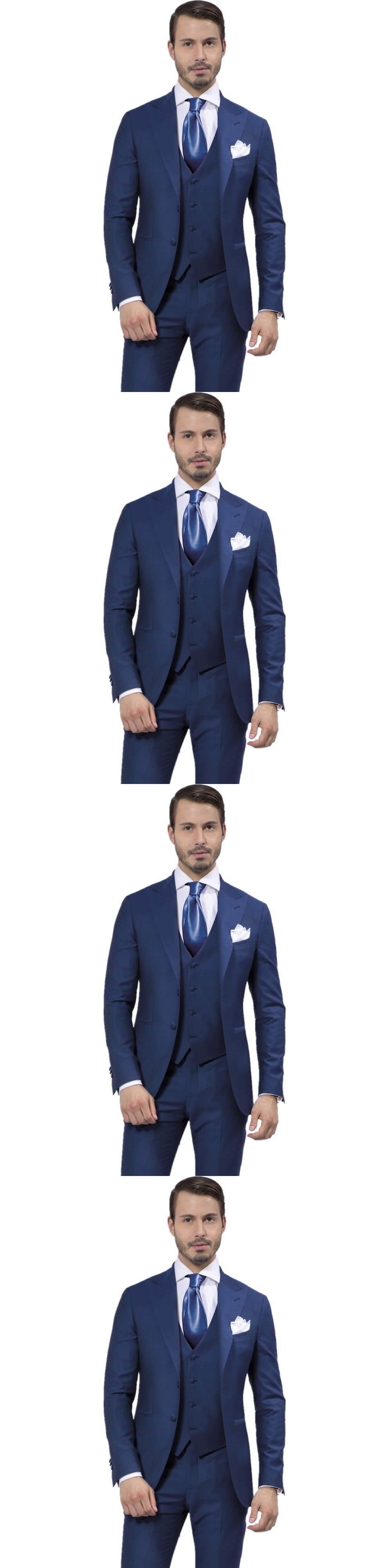 Pieces mens suits fashion design navy blue wedding groom tuxedos