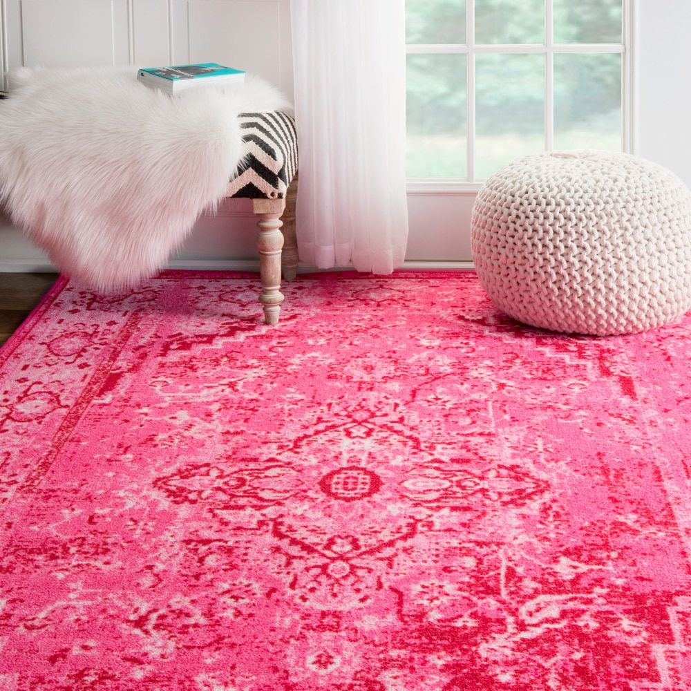nuLOOM Traditional Vintage Inspired Overdyed Fancy Pink Area Rug (4 ...
