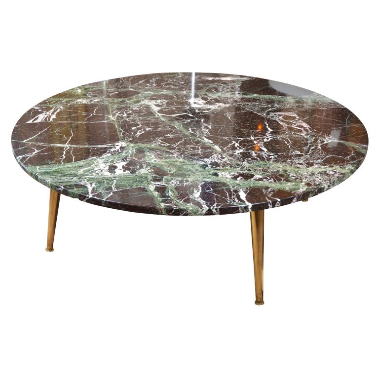 """Mid Century 40"""" Round Green Marble Coffee Table"""