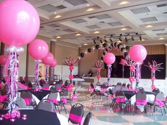 Wedding party table decoration ideas pink and black for Balloon decoration for wedding receptions