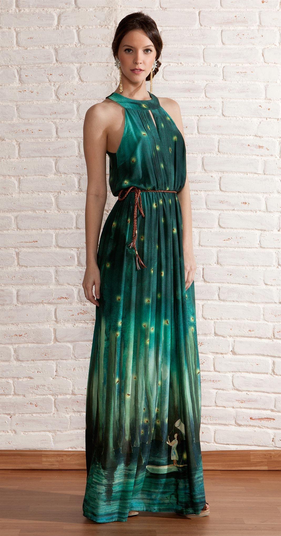 Green dress prom  Vestido Longo Caçador de Vagalume  Roupas  Pinterest  Orange grey