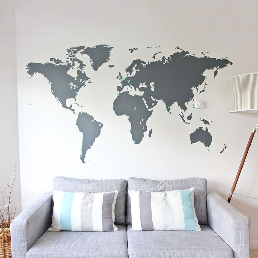 World map vinyl wall sticker vinyl wall stickers wall stickers world map vinyl wall sticker amipublicfo Choice Image
