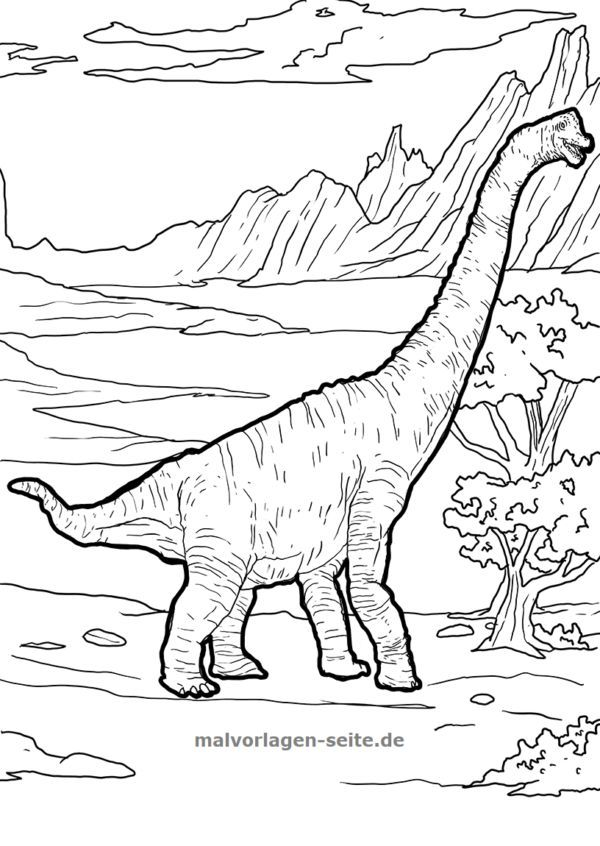 malvorlage brachiosaurus  dinosaurier  kostenlose