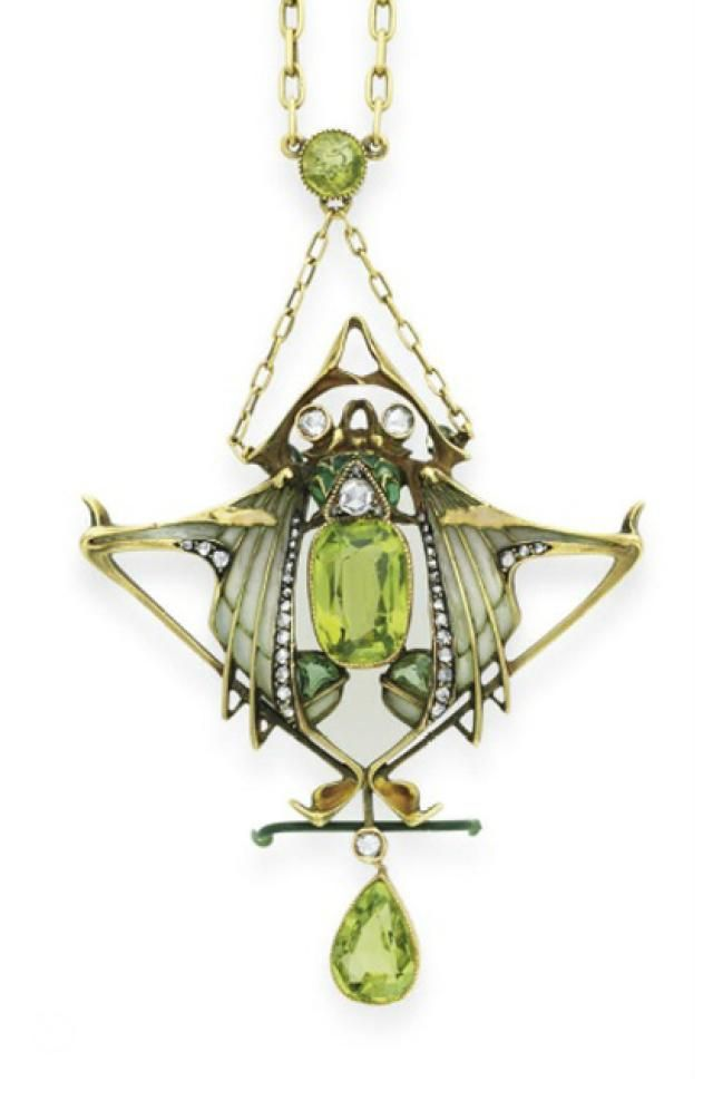 5 Gorgeous Peridot Masterpieces: Art Nouveau Lucien Gautrait Necklace