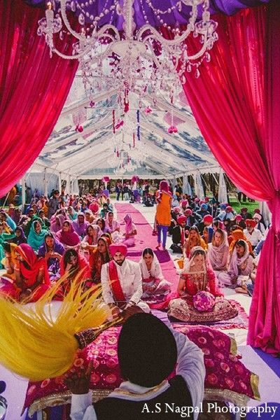 An indian bride and groom wed in a vibrant hot pink punjabi ceremony ceremony in upstate ny indian wedding by as nagpal photography junglespirit Gallery