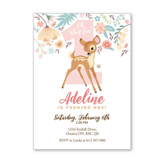 Baby deer first birthday party invitation printable 1st birthday baby deer first birthday party invitation printable filmwisefo Gallery