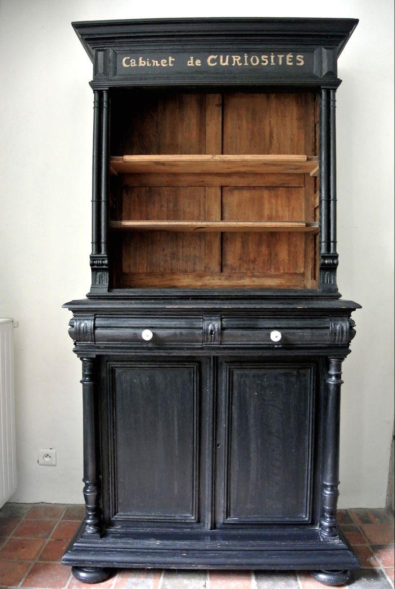Cabinet Curiosites Face Cabinet De Curiosite Meuble Noir Et Bois Relooking Meuble