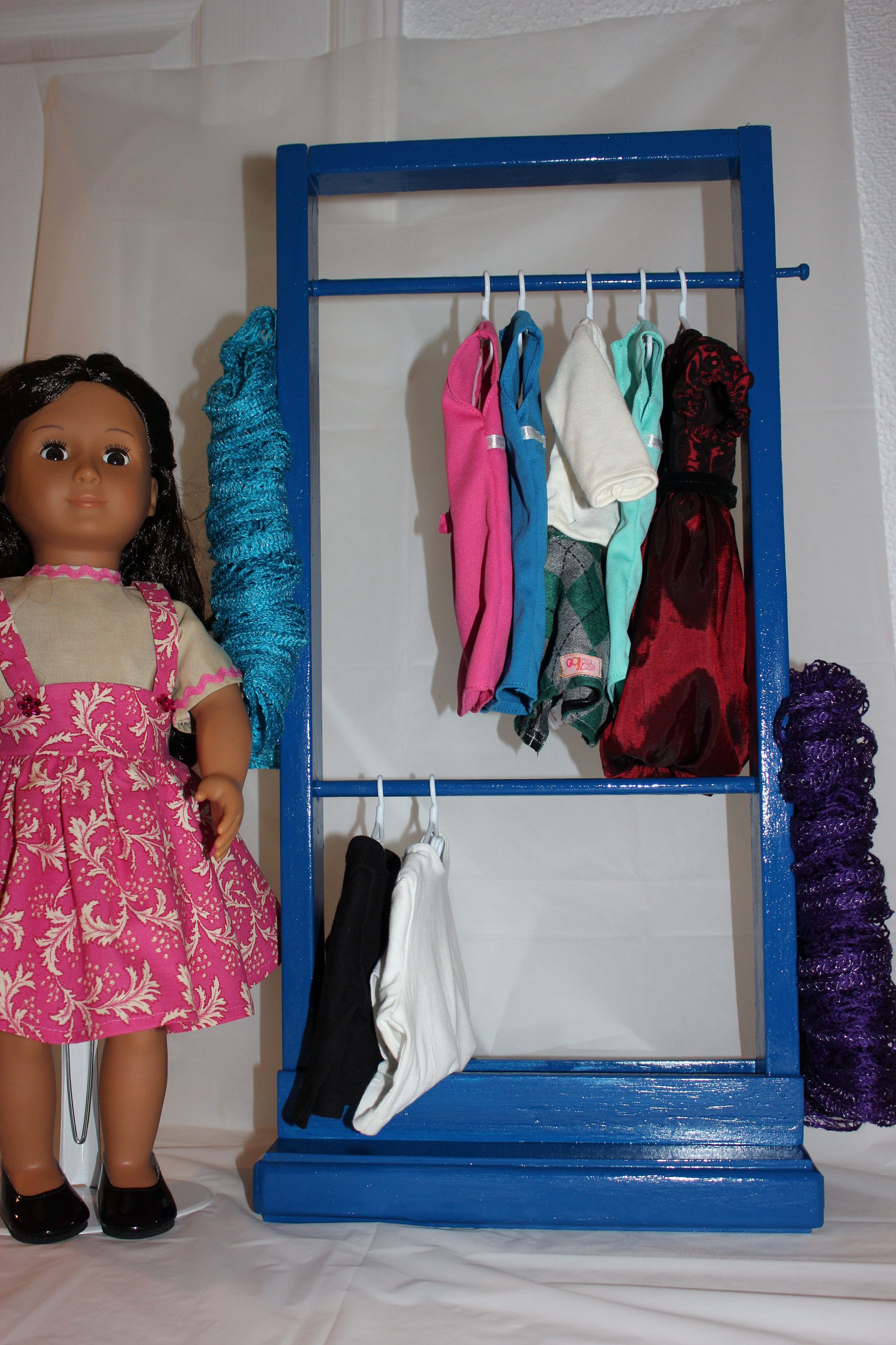 Doll Clothes Rack,Clothes Storage,Doll Furniture,18 Inch Doll Furniture, Clothes