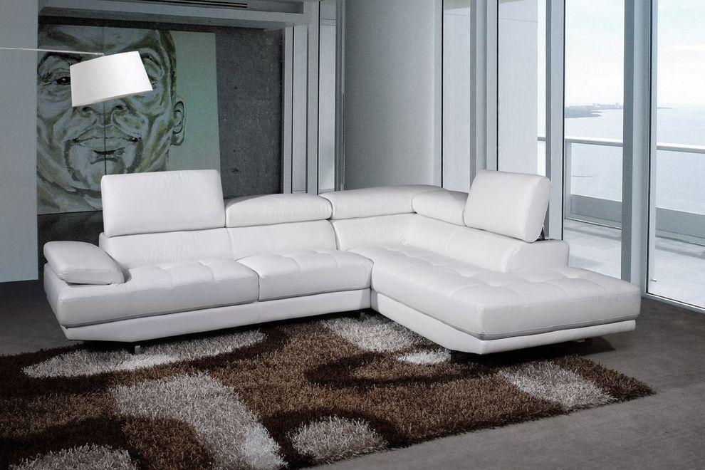 Victoria Canape D Angle Cuir Luxe Blanc Avec Accoudoir Et